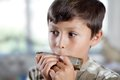 Boy playing harmonica Royalty Free Stock Photos