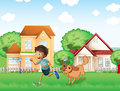A boy playing with his dog illustration of Royalty Free Stock Image