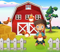 A boy playing with his farm animals illustration of Royalty Free Stock Photos