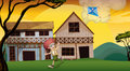 A boy playing with his kite in front of the wooden barnhouses illustration Royalty Free Stock Images