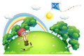 A boy playing with his kite at the hilltop illustration of on white background Royalty Free Stock Photography