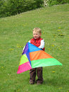 Boy playing with kite Royalty Free Stock Images