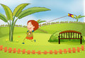 A boy playing kite illustration of in beautiful nature Stock Photos