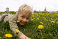 Boy playing in meadow Stock Photos