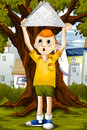 Boy playing park summer day vector illustration character done cartoon style perfect illustration children s books postcards Royalty Free Stock Photography