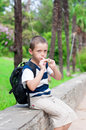 Boy playing a pipe in nature Stock Photos