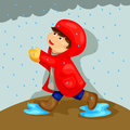Boy playing in the rain illustration of cute Stock Image
