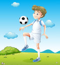 A boy playing soccer during daytime illustration of Royalty Free Stock Images