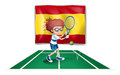 A boy playing tennis in front of the flag of spain illustration on white background Stock Photo