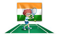 A boy playing tennis in front of the ireland flag illustration on white background Stock Photo