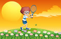 A boy playing tennis at the hill illustration of Stock Photo