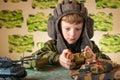 Boy Playing Toy Military Tank