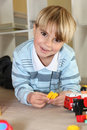 Boy playing with toys little Royalty Free Stock Photo