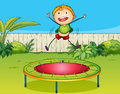 A boy playing trampoline illustration of in beautiful nature Stock Image