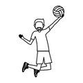 Boy playing volleyball design Royalty Free Stock Photo