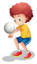A boy playing volleyball Royalty Free Stock Photo
