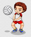 Boy playing volleyball on transparent background Royalty Free Stock Photo