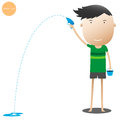 Boy playing water gun songkran festival cartoon illustration Royalty Free Stock Photos