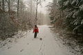 A boy plays with a soccer ball in winter forest Stock Photo