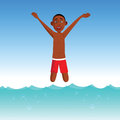 Boy plunging into a pool cartoon illustration of Stock Images