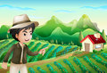 A boy pointing at the barnhouse at the farm illustration of Stock Photo