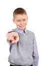 Boy pointing at you having a grudge isolated on the white background Royalty Free Stock Photo