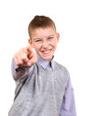 Boy pointing at you mocker isolated on the white background Royalty Free Stock Images