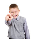 Boy pointing at you mocker isolated on the white background Stock Photos