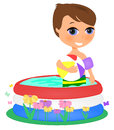 Boy in a pool illustration of young kids holding ball Royalty Free Stock Image