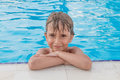 Boy in the pool portrait of Royalty Free Stock Image