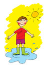 Boy in a pool of water cartoon Royalty Free Stock Images