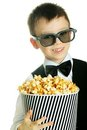 Boy with popcorn Stock Images