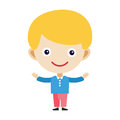 Boy portrait fun happy young expression cute teenager cartoon character little kid flat vector illustration.