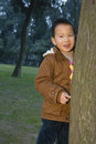 Boy portrait happy chinese standing behind tree Stock Photos