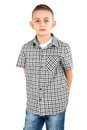 Boy posing photo of in studio Royalty Free Stock Photography