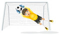 A boy practicing to catch the soccer ball Royalty Free Stock Photo