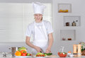 Boy preparing meals vegetarian in the kitchen Royalty Free Stock Photography