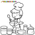 Boy cooking coloring page