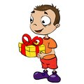 Boy with present Royalty Free Stock Photo