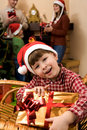 Boy with present Stock Images