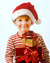 Boy and presents Royalty Free Stock Image
