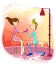 Boy proposing girl Stock Photos