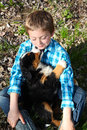Boy and Puppy Royalty Free Stock Photo