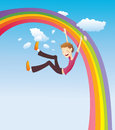 Boy on the rainbow Stock Images