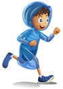Boy in raincoat running