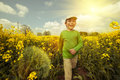Boy on rapeseed field tinted image walks through Royalty Free Stock Image