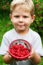 Boy with raspberries Stock Photos