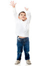 Boy reaching ceiling Royalty Free Stock Photography