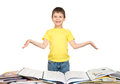 Boy read a book isolated Stock Photos