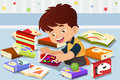 Boy reading a book vector illustration of cute kid Stock Photo